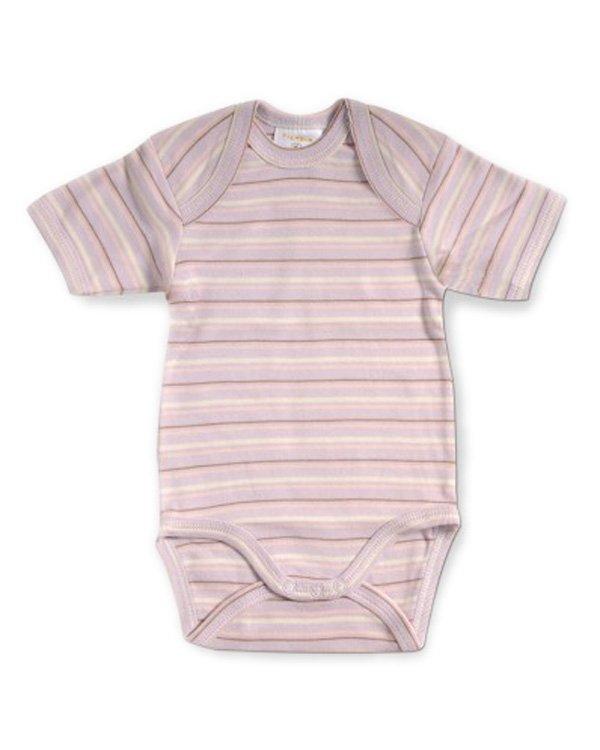 Filobio, body manica corta - rigato lavanda, 1/3 mesi