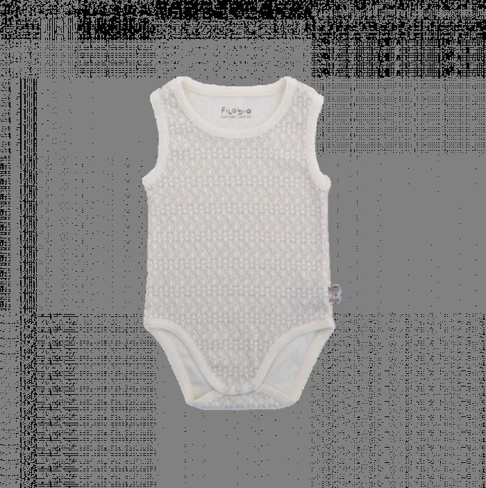 Filobio, body smanicato con stampa - panna, 3 mesi